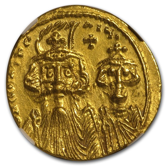 Byzantine Au Solidus Emperor Const. II & IV (641-668 AD) MS NGC
