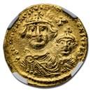 Byzantine AV Solidus Heraclius & Her. Cons (613-641 AD) AU NGC