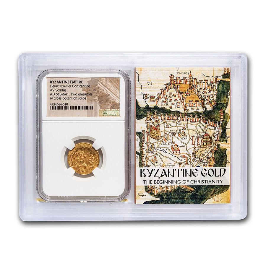 Byzantine AV Solidus Heraclius+Her. Cons (613-641 AD) AU NGC