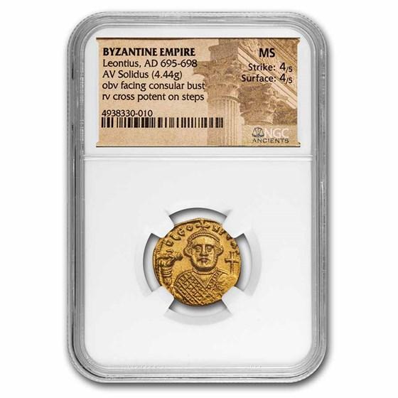 Byzantine Empire AV Solidus Leontius (695-698 AD) MS NGC