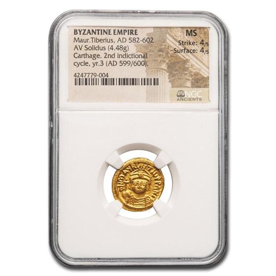 Byzantine Empire AV Solidus Maurice Tiberius (582-602 AD) MS NGC