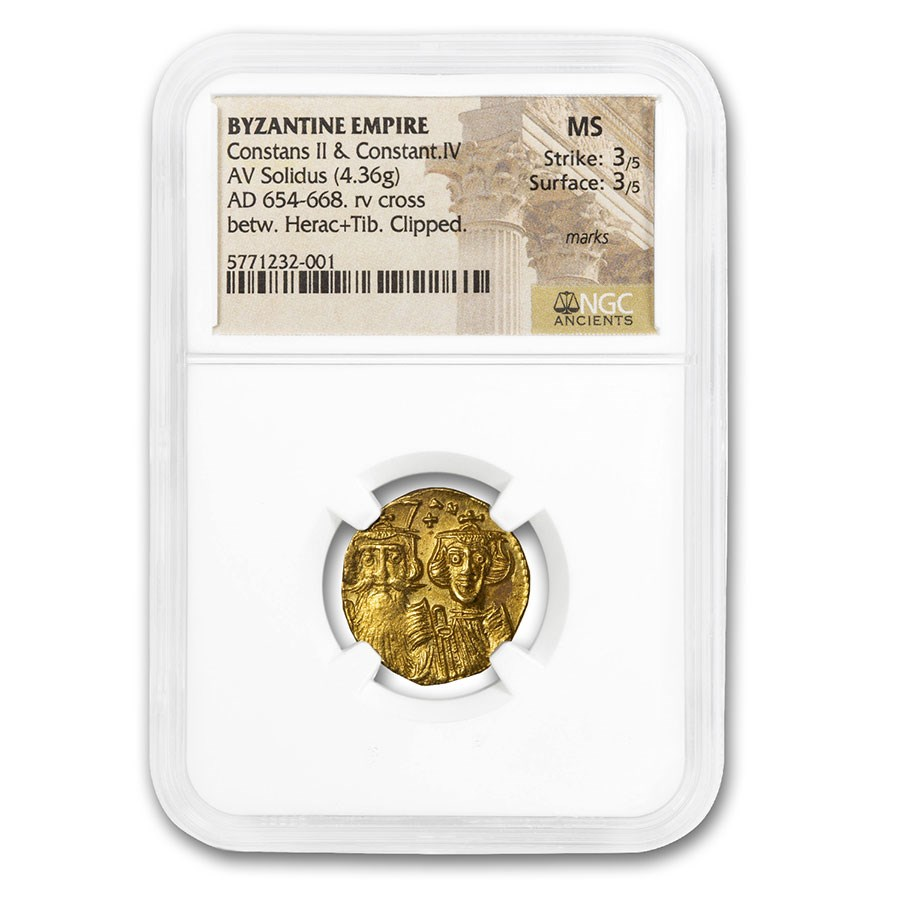 Byzantine Empire Gold Solidus Constans II (654-668 AD) MS NGC