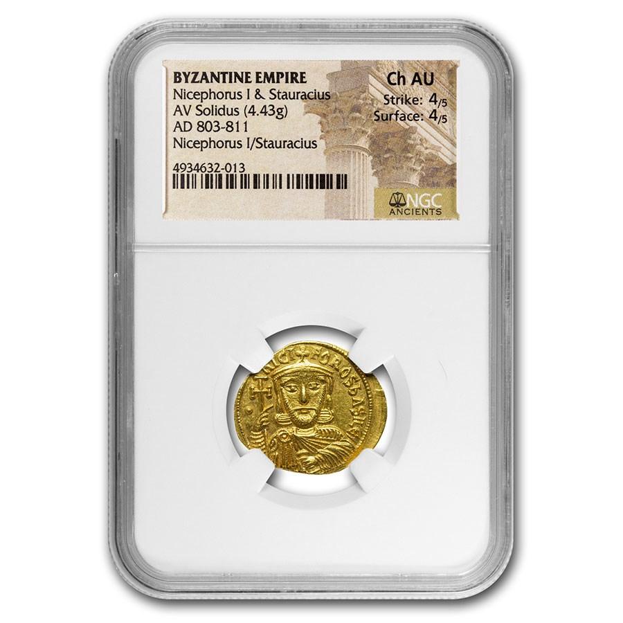 Byzantine Empire Gold Solidus Nicephorus I (803-811 AD) Ch AU NGC