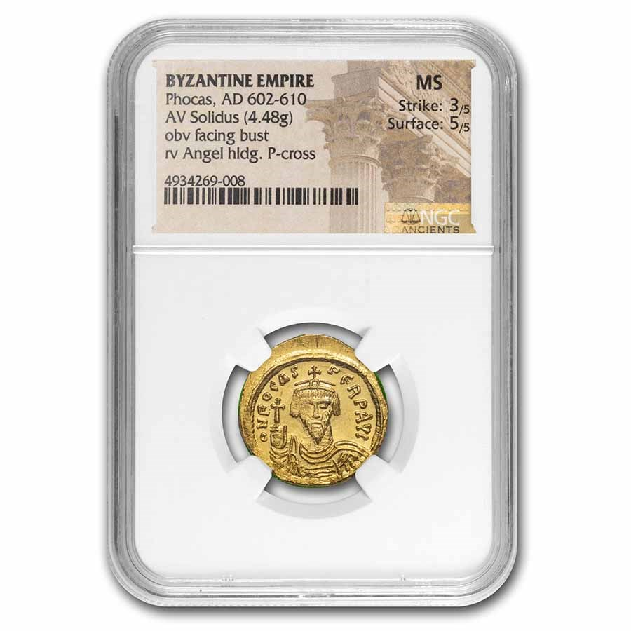 Byzantine Empire Gold Solidus Phocas (602-610 AD) MS NGC (S-618)