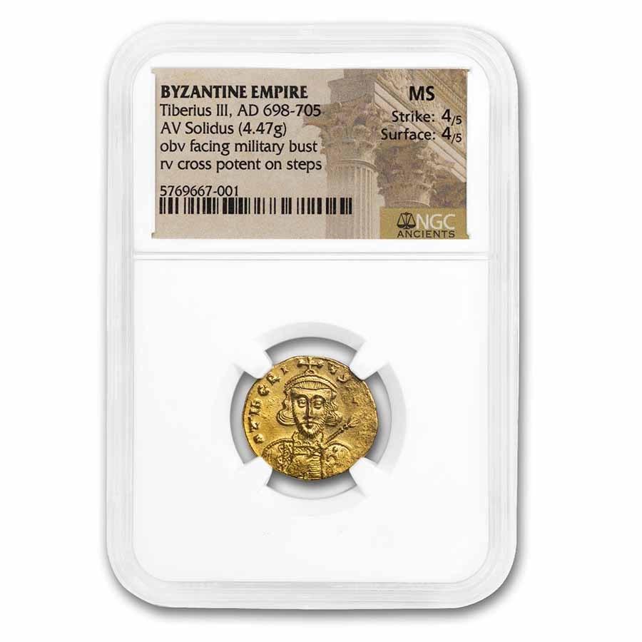 Byzantine Empire Gold Solidus Tiberius III (698-705) MS NGC