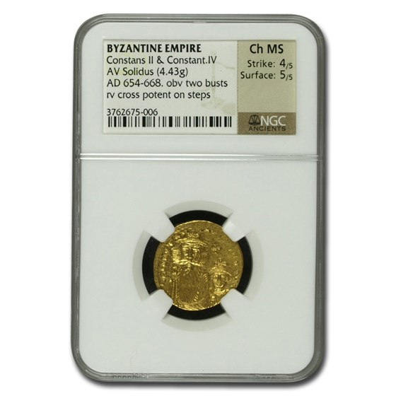 Byzantine Gold Constans II, Constantine IV (654-668 AD) Ch MS NGC