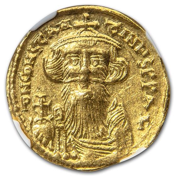 Byzantine Gold Emperor Constans II (641- 685 AD) Ch AU NGC
