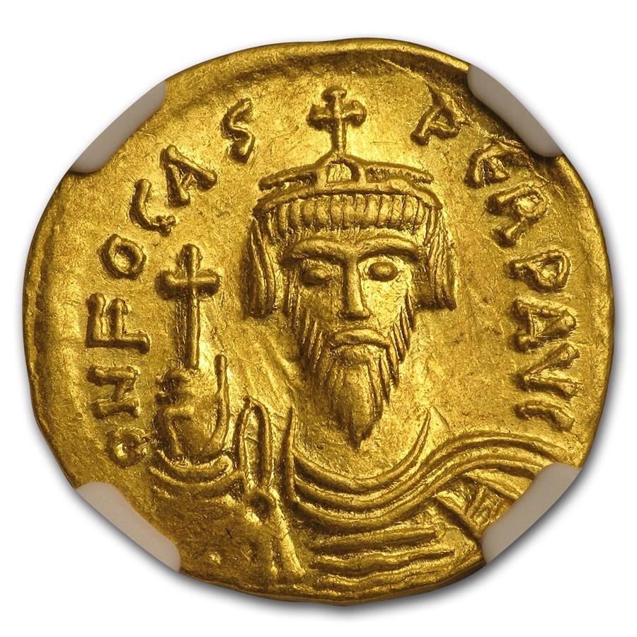Byzantine Gold Emperor Phocas (602-610 AD) Ch AU NGC
