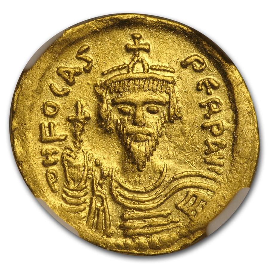 Byzantine Gold Emperor Phocas (602-610 AD) Ch XF NGC