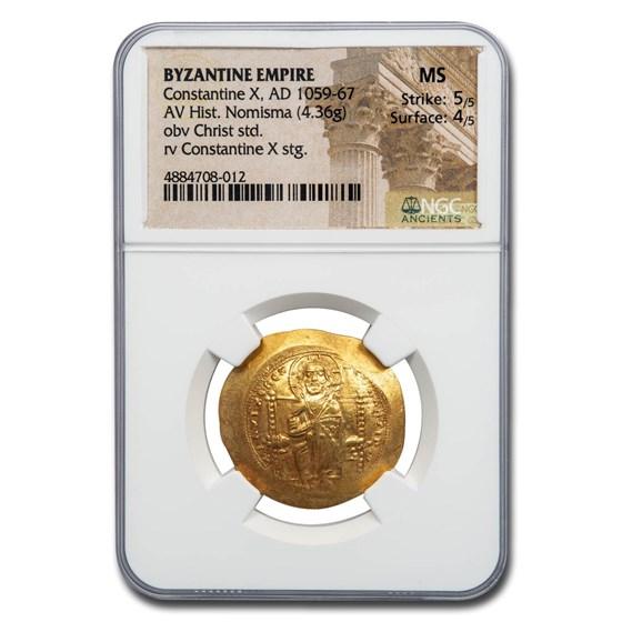 Byzantine Gold Histamenon Constantine X (1059-1067 AD) MS NGC