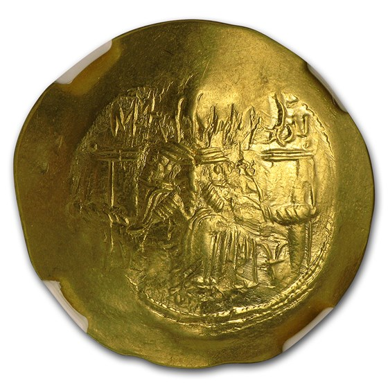 Byzantine Gold Hyperpyron Isaac II (1185-1195 AD) AU NGC