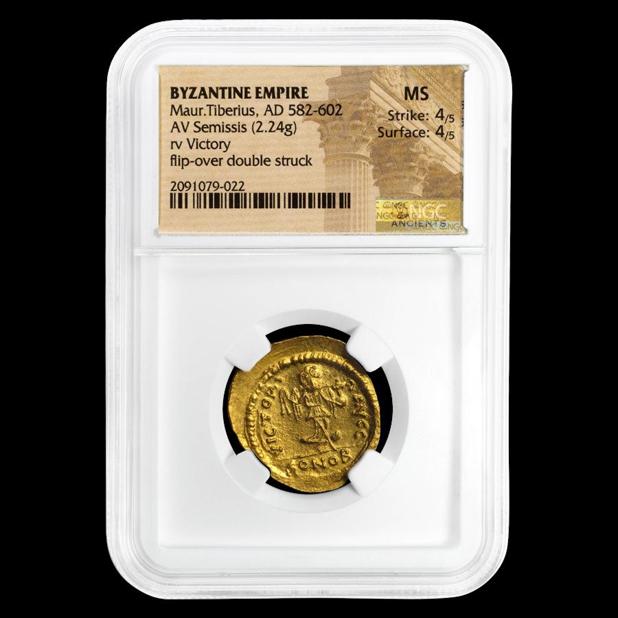 Byzantine Gold Semissis Maurice Tiberius (582-602 AD) MS NGC