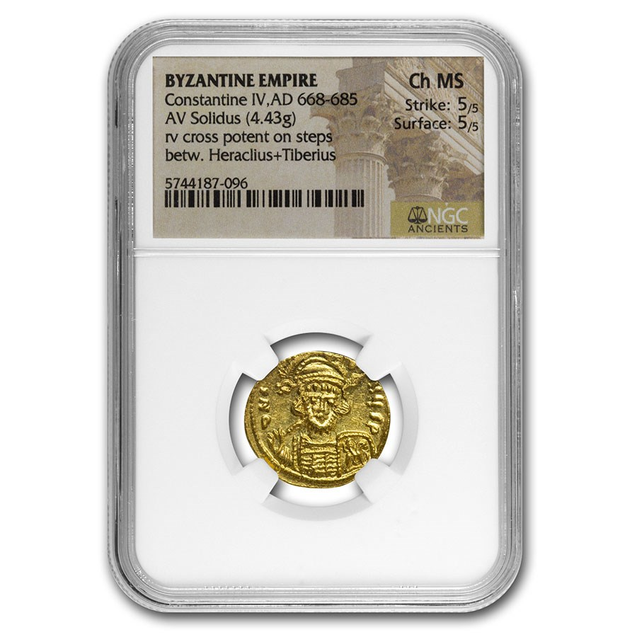 Byzantine Gold Solidus Constantine IV (668-685 AD) Ch MS NGC