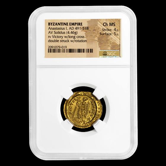 Byzantine Gold Solidus Emp. Anastasius I (491-518 AD) Ch MS NGC