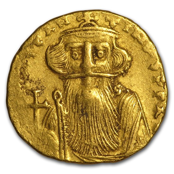 Byzantine Gold Solidus Emp Constans II (651-654 AD) XF