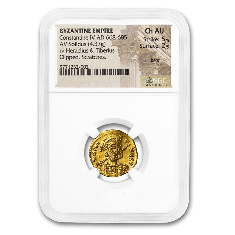 Byzantine Gold Solidus Emp. Constantine IV (668-685 AD) Ch AU NGC