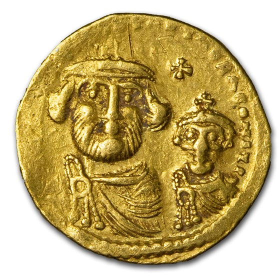 Byzantine Gold Solidus Emp Heraclius and Son (610-641 AD) XF