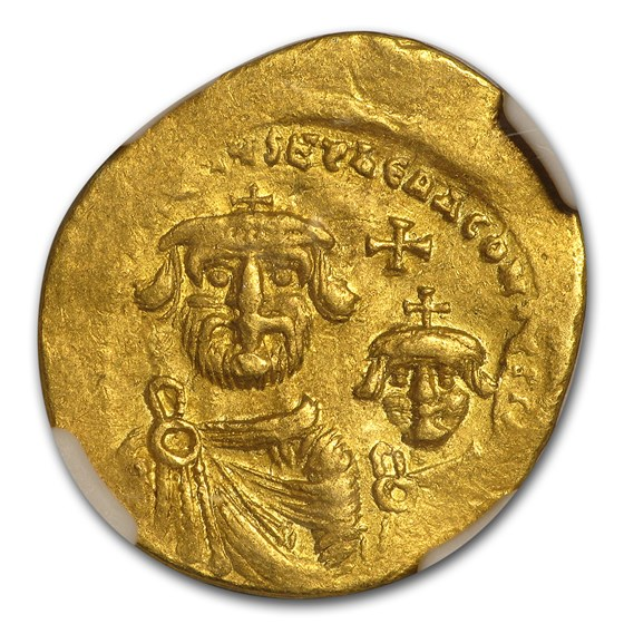 Byzantine Gold Solidus Emp. Heraclius & Her. (613-641 AD) XF NGC