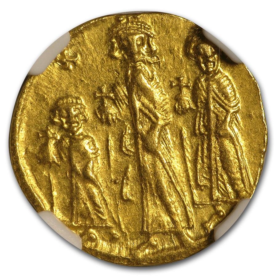 Byzantine Gold Solidus Emp Heraclius,Her,Con. 632-641 AD AU NGC