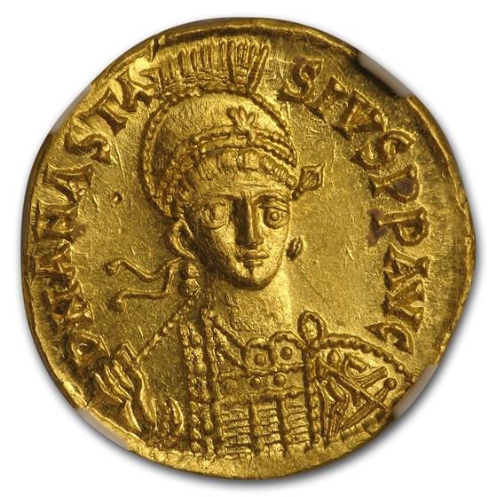 Byzantine Gold Solidus Emperor Anastasius I (491-518 AD) MS NGC