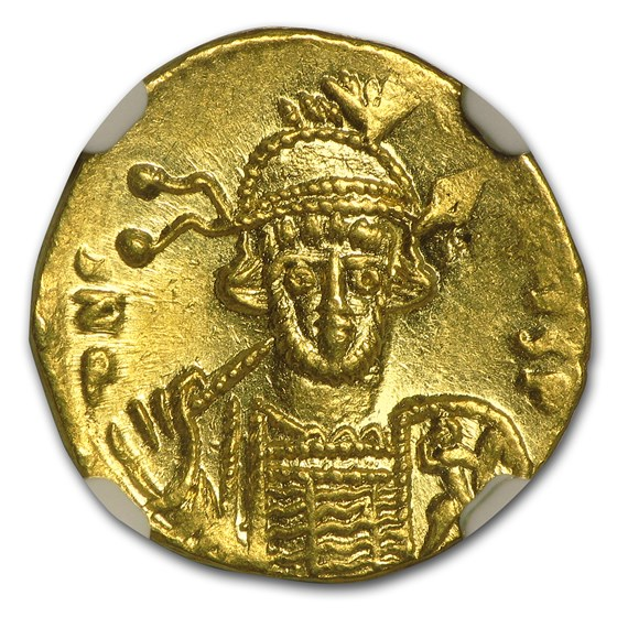 Byzantine Gold Solidus Emperor Constantine IV (668-685 AD) MS NGC