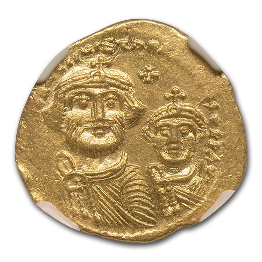 Byzantine Gold Solidus Emperor Heraclius (613-641 AD) MS NGC