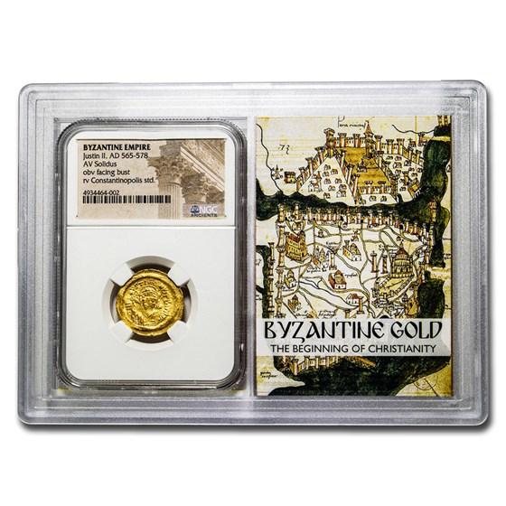 Byzantine Gold Solidus Emperor Justin II (565-578 AD) NGC (Vault)