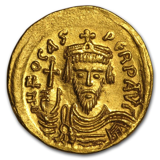 Byzantine Gold Solidus Emperor Phocas (602-610 AD) CH AU