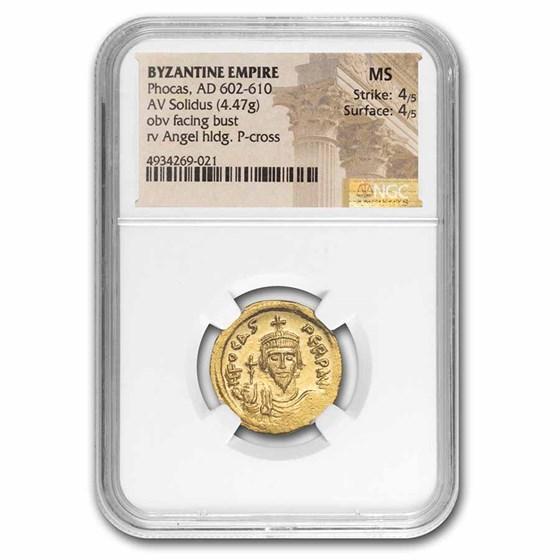 Byzantine Gold Solidus Emperor Phocas (602-610 AD) MS NGC (S-618)