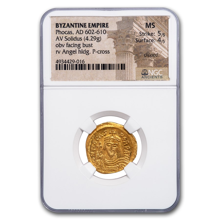 Byzantine Gold Solidus Emperor Phocas (602-610 AD) MS NGC