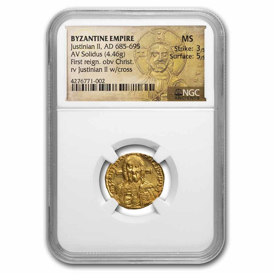 Byzantine Gold Solidus Justinian II (685-695 AD) MS NGC (S-1248)