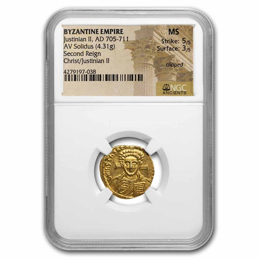Byzantine Gold Solidus Justinian II (705-711 AD) MS NGC (S-1413)