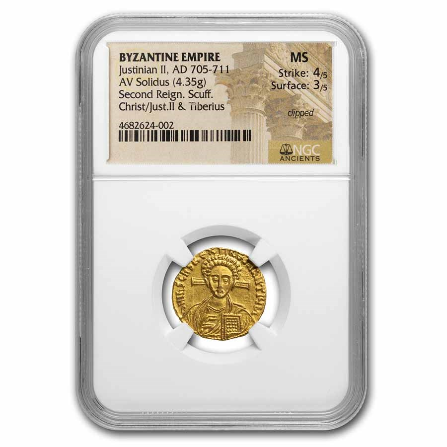 Byzantine Gold Solidus Justinian II (705-711 AD) MS NGC (S-1414)