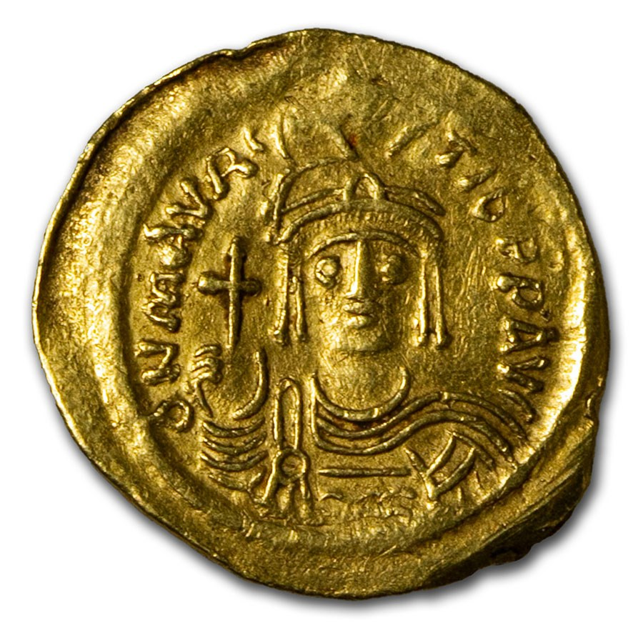 Byzantine Gold Solidus Maurice Tiberius (582-602 AD) Ch XF