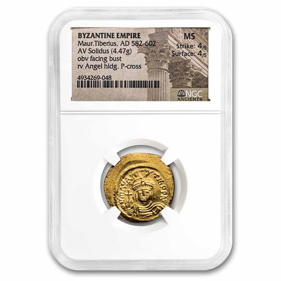 Byzantine Gold Solidus Maurice Tiberius (582-602 AD) MS NGC S-525