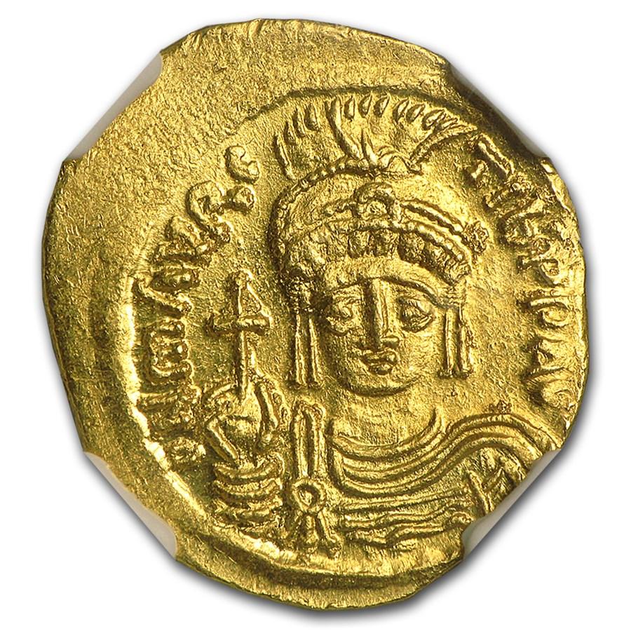 Byzantine Gold Solidus Maurice Tiberius (582-602 AD) MS NGC