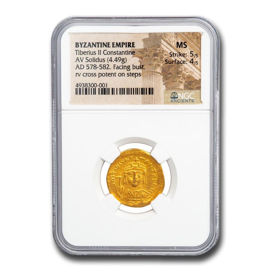 Byzantine Gold Solidus Tiberius II (578-582 AD) MS NGC