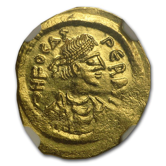 Byzantine Gold Tremissis Emperor Phocas (602-610 AD) MS NGC