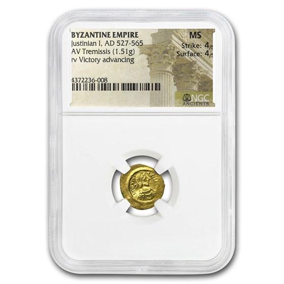 Byzantine Gold Tremissis Justinian I (527-565 AD) MS NGC