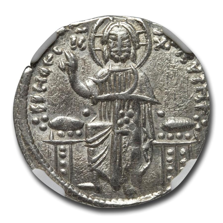 Byzantine Silver Basilicon And. II & Mich. IX (1294-1320) AU NGC