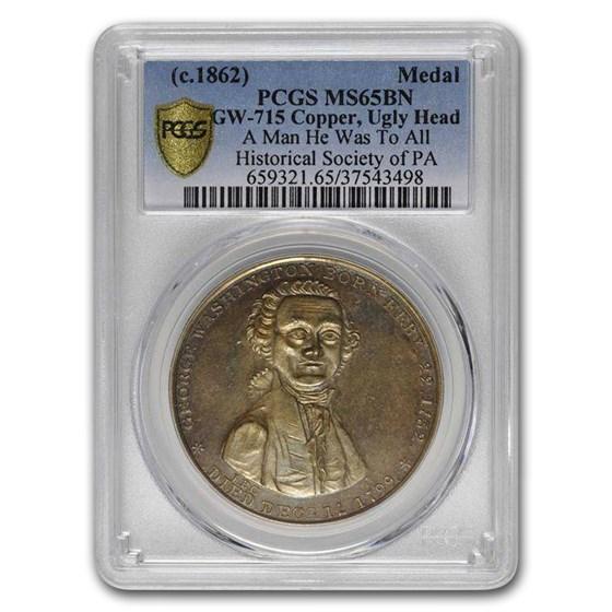 (c.1862) Washington Ugly Head Medal MS-65 PCGS (Brown)