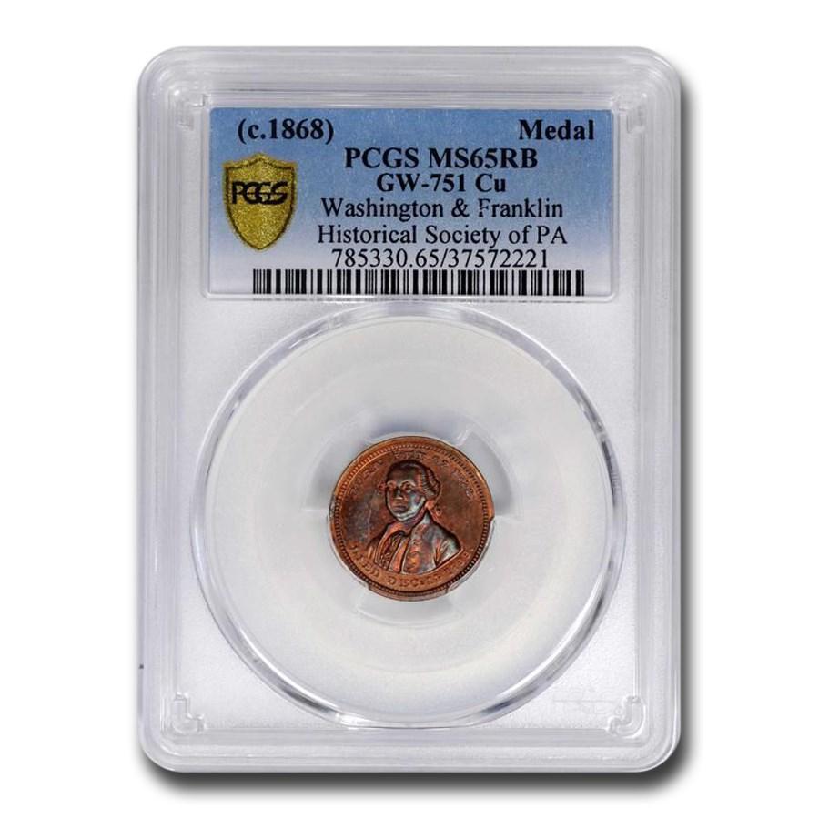 c. 1868 Washington & Franklin Hist Soc of PA Medal MS-65 PCGS RB