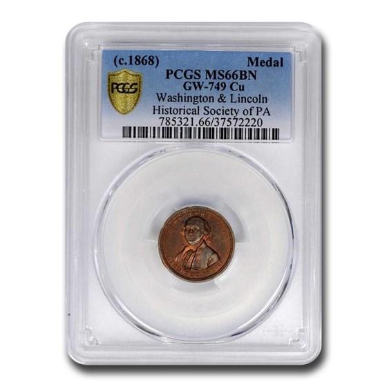 c. 1868 Washington & Lincoln Hist Soc of PA Medal MS-66 PCGS (BN)