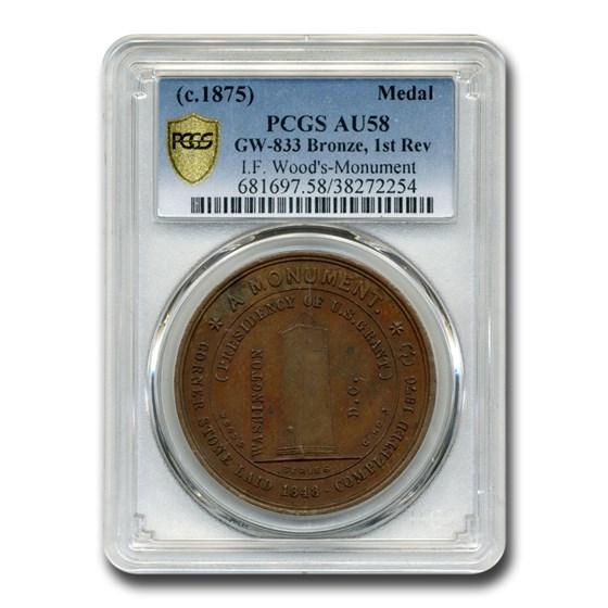 c. 1875 Isaac F. Wood's Monument Medal AU-58 PCGS