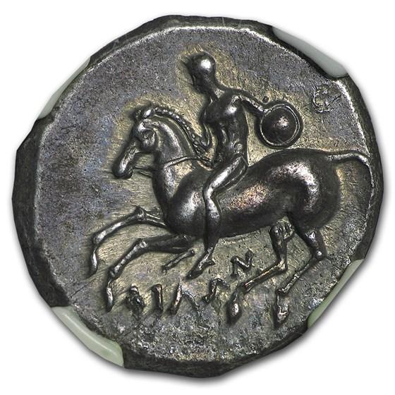 Calabria Taras AR Didrachm Boy on Dolphin CH XF NGC (302-280 BC)