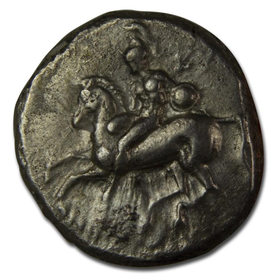 Calabria Taras AR Didrachm Rider w/shield (4th-3rd cent BC) VF