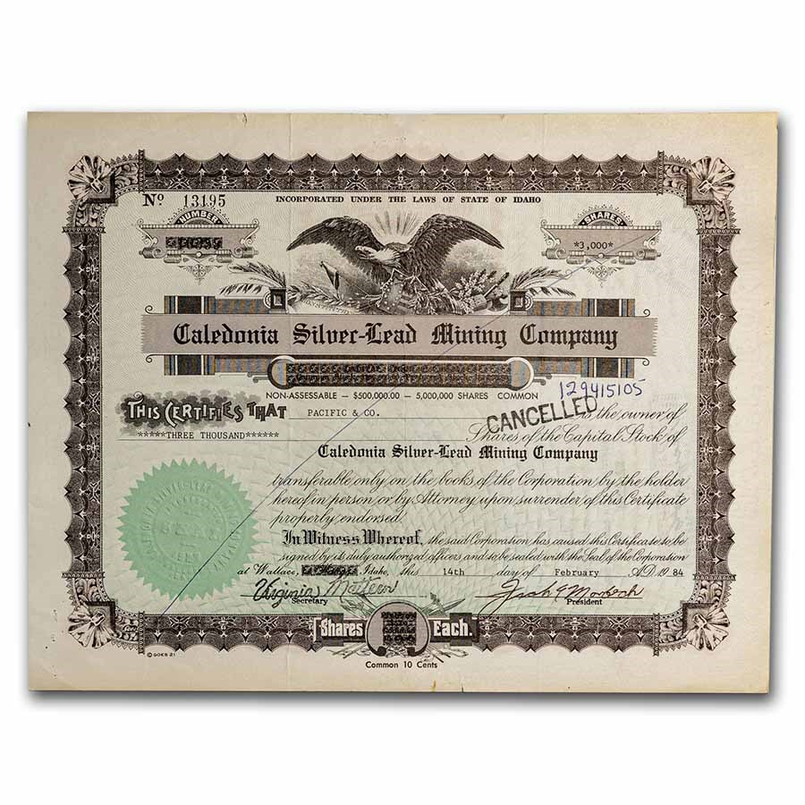 Caledonia Silver-Lead Mining Company Stock Certificate