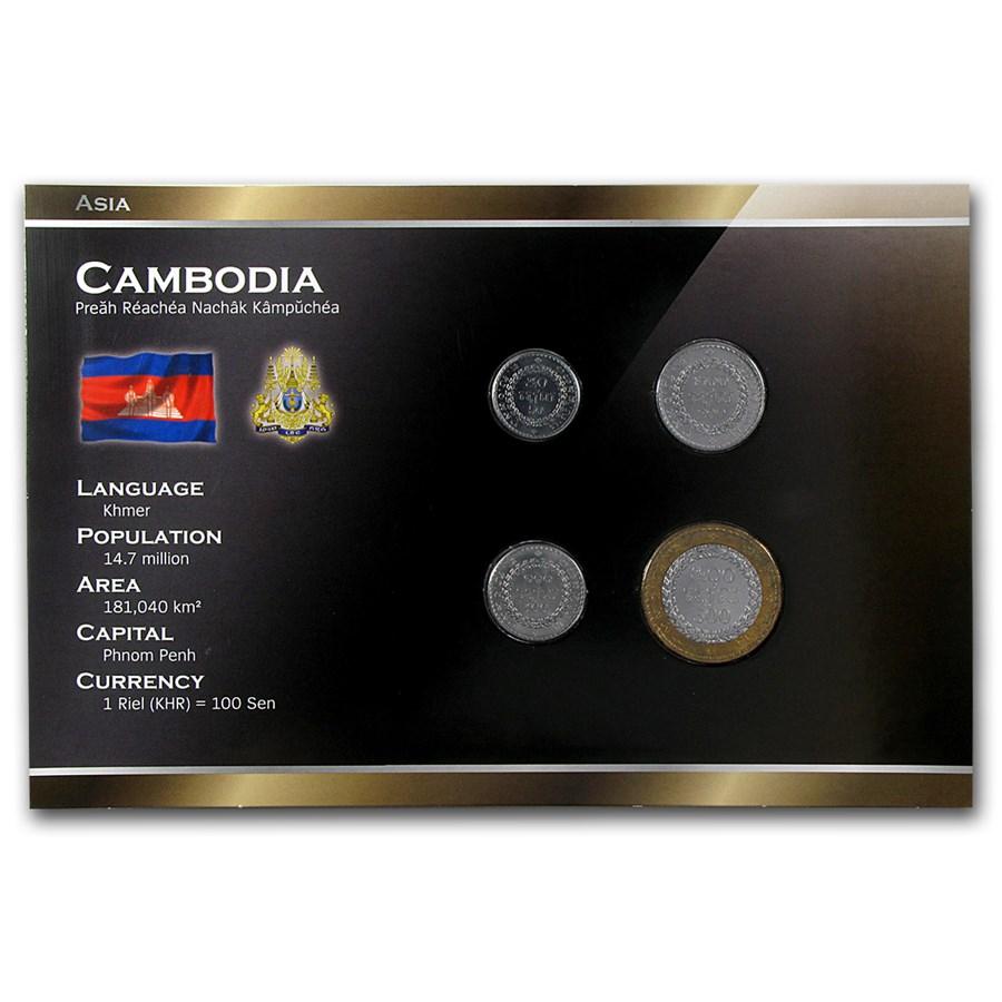 Cambodia 50-500 Riels 4-Coin Set Unc