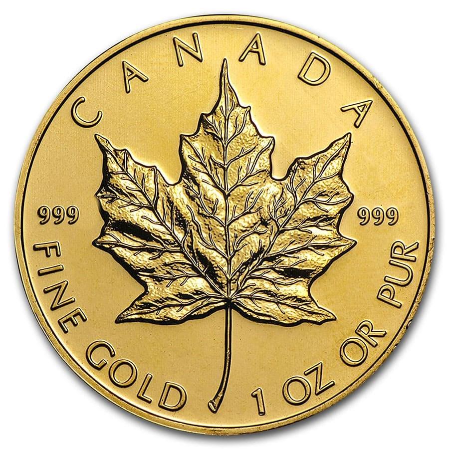 Canada 1 oz Gold Maple Leaf .999 Fine (Random Year)