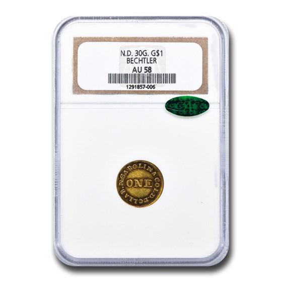 Carolina Gold A. Bechtler One Dollar AU-58 NGC CAC (30G)